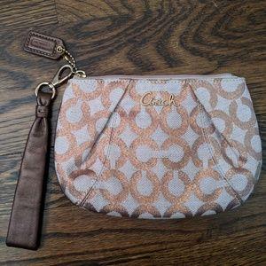 Coach   wallet clutch wristlet metallic rose gold
